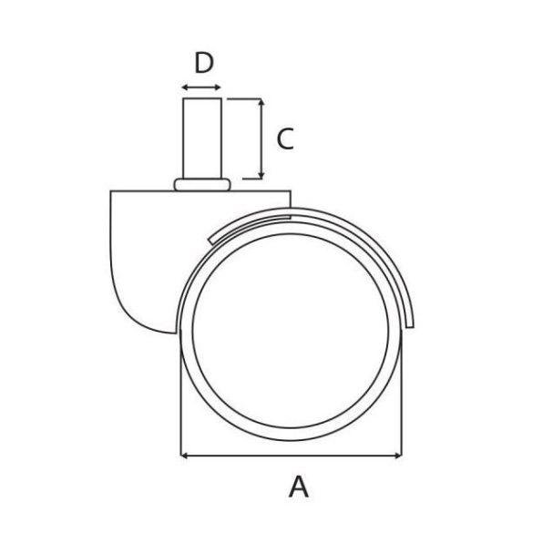 Design irodaszék görgő 60 mm magassággal és 11 mm csapátmérővel