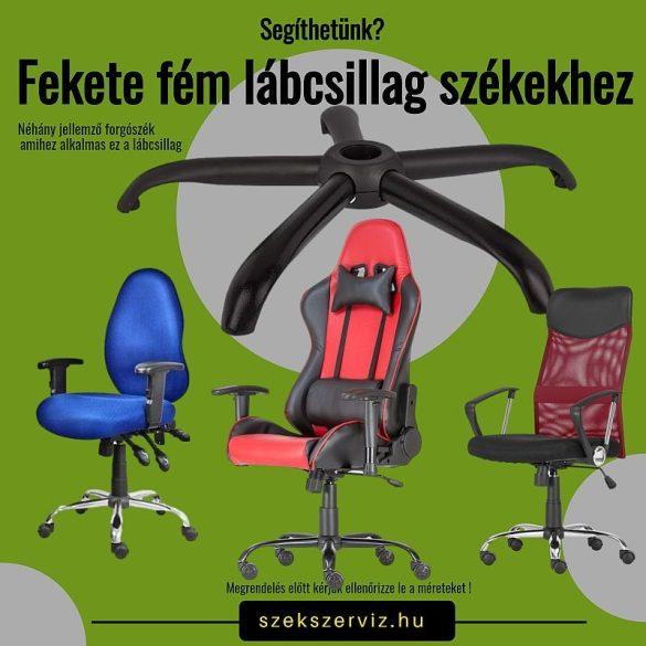 Fekete fém lábcsillag forgószékhez, 11-mm-es csaphellyel, 120 kg-os teherbírással